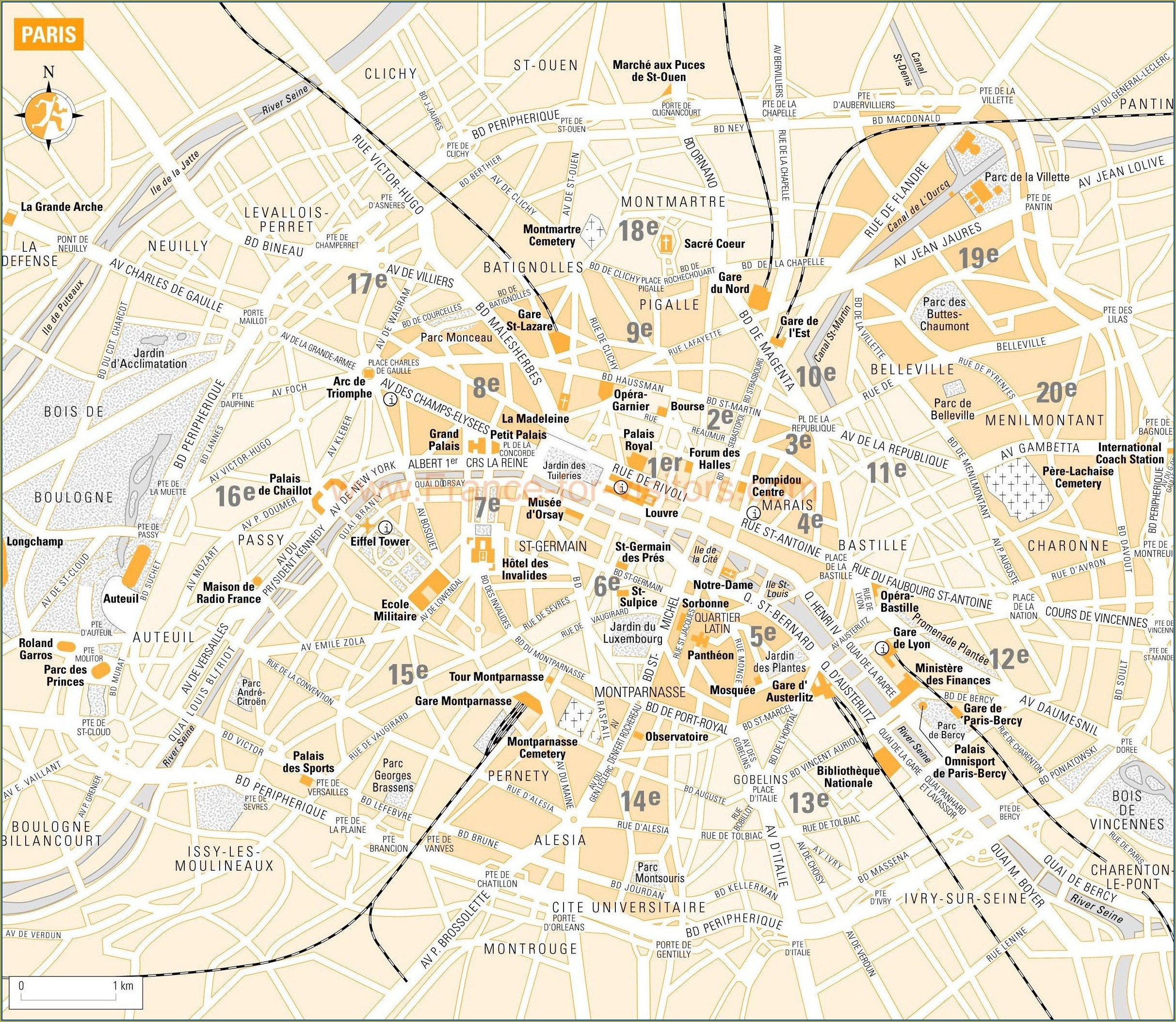 Map Of Paris Arrondissements With Attractions