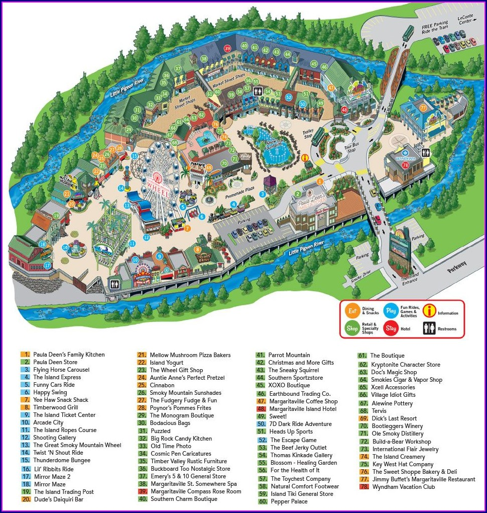 Map Of Pigeon Forge Attractions And Hotels