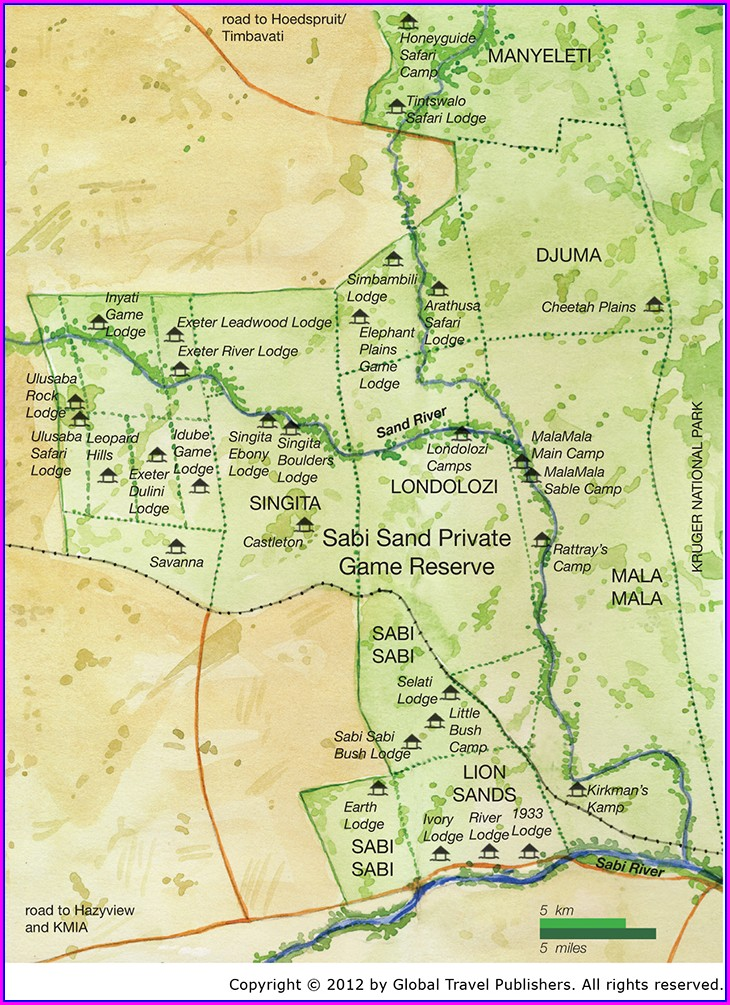Map Of Sabi Sands Lodges
