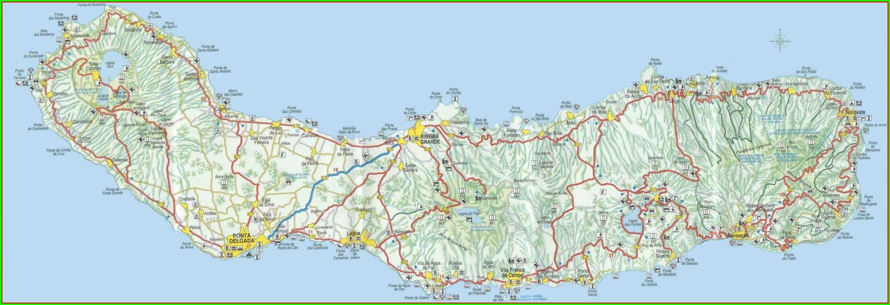 Map Of Sao Miguel Azores Portugal