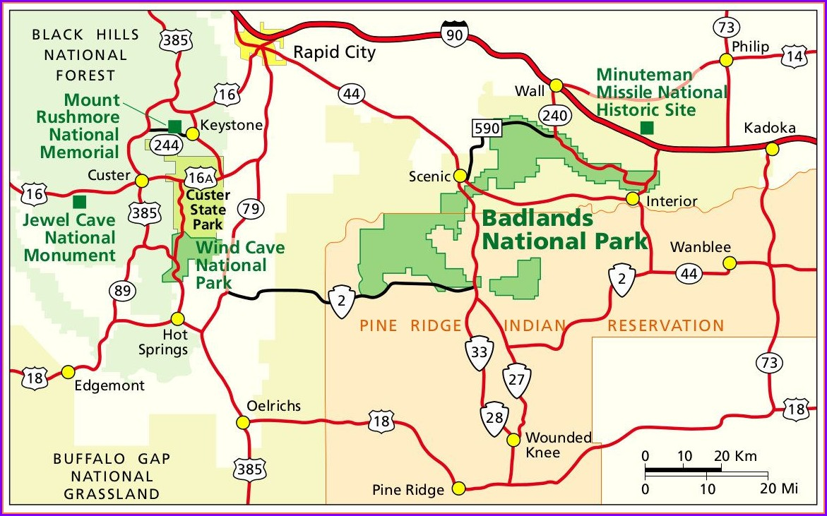 Map Of South Dakota Mt Rushmore Area
