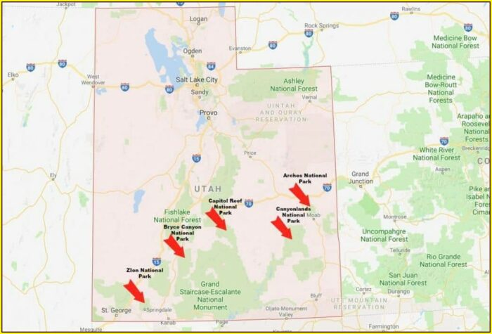 Map Of Utah National Parks And Monuments