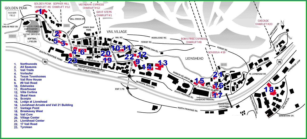 Map Of Vail Village Hotels