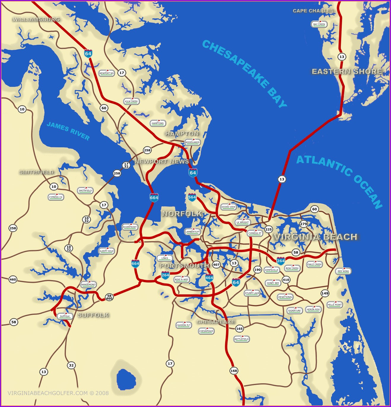Map Of Virginia Beach Oceanfront
