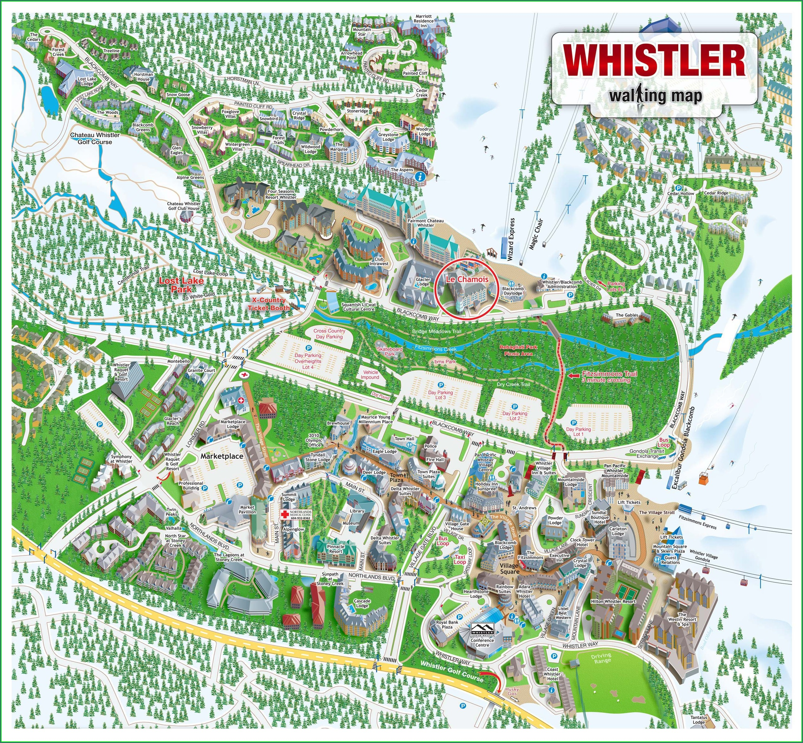Map Of Whistler Village Hotels