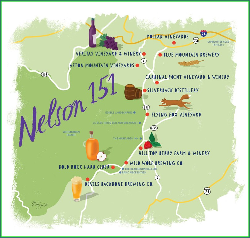 Map Of Wineries In Charlottesville Va