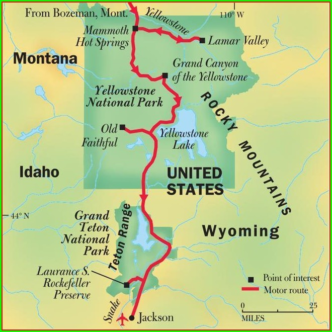 Map Of Yellowstone National Park And Grand Tetons