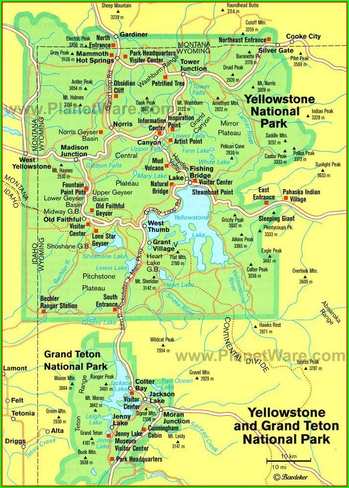 Map Of Yellowstone Park And Grand Tetons