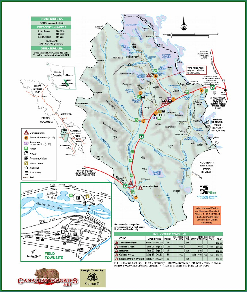 Map Of Yoho National Park British Columbia