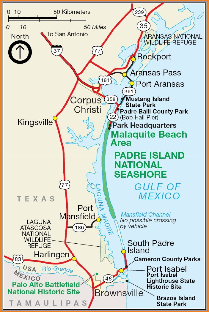 Map South Padre Island Hotels