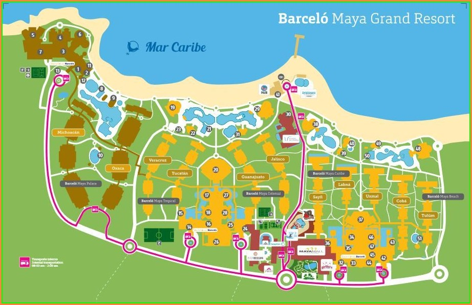 Mapa Barcelo Maya Beach Resort