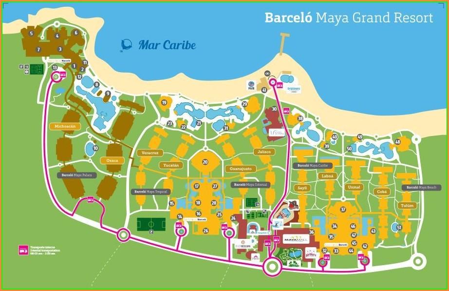 Mapa Barcelo Maya Beach Resort