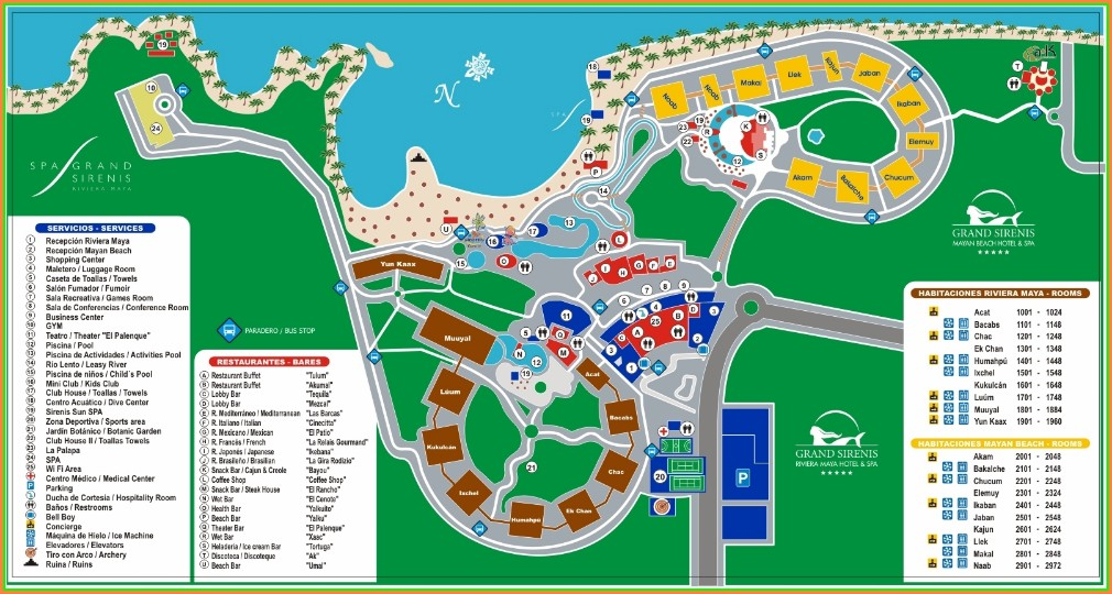 Mapa Barcelo Maya Grand Resort