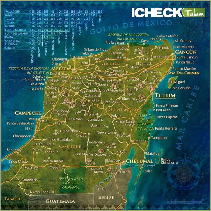 Mapa De Los Cenotes De Yucatan