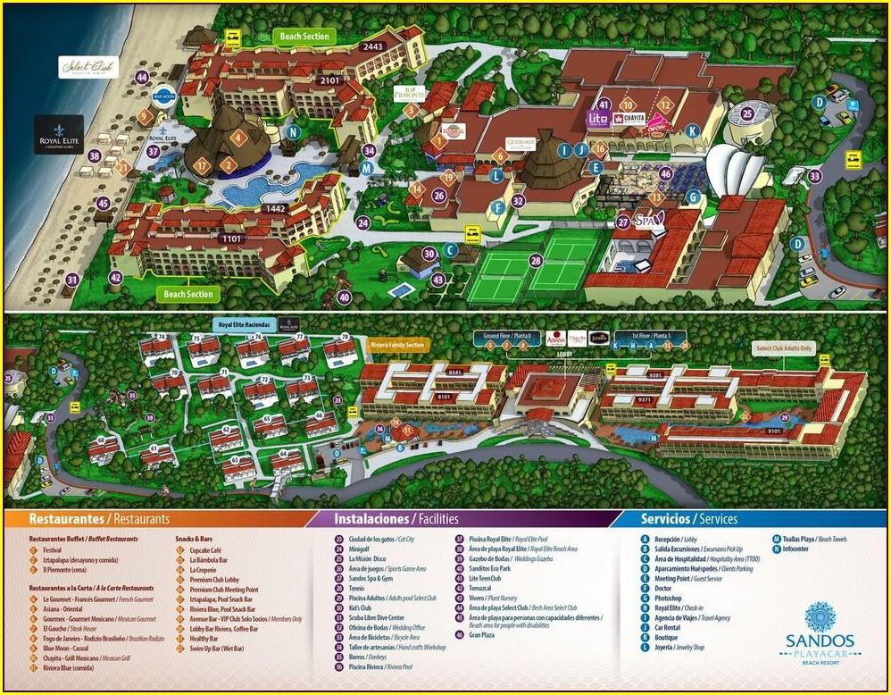 Mapa Hotel Sandos Caracol Playa Carmen