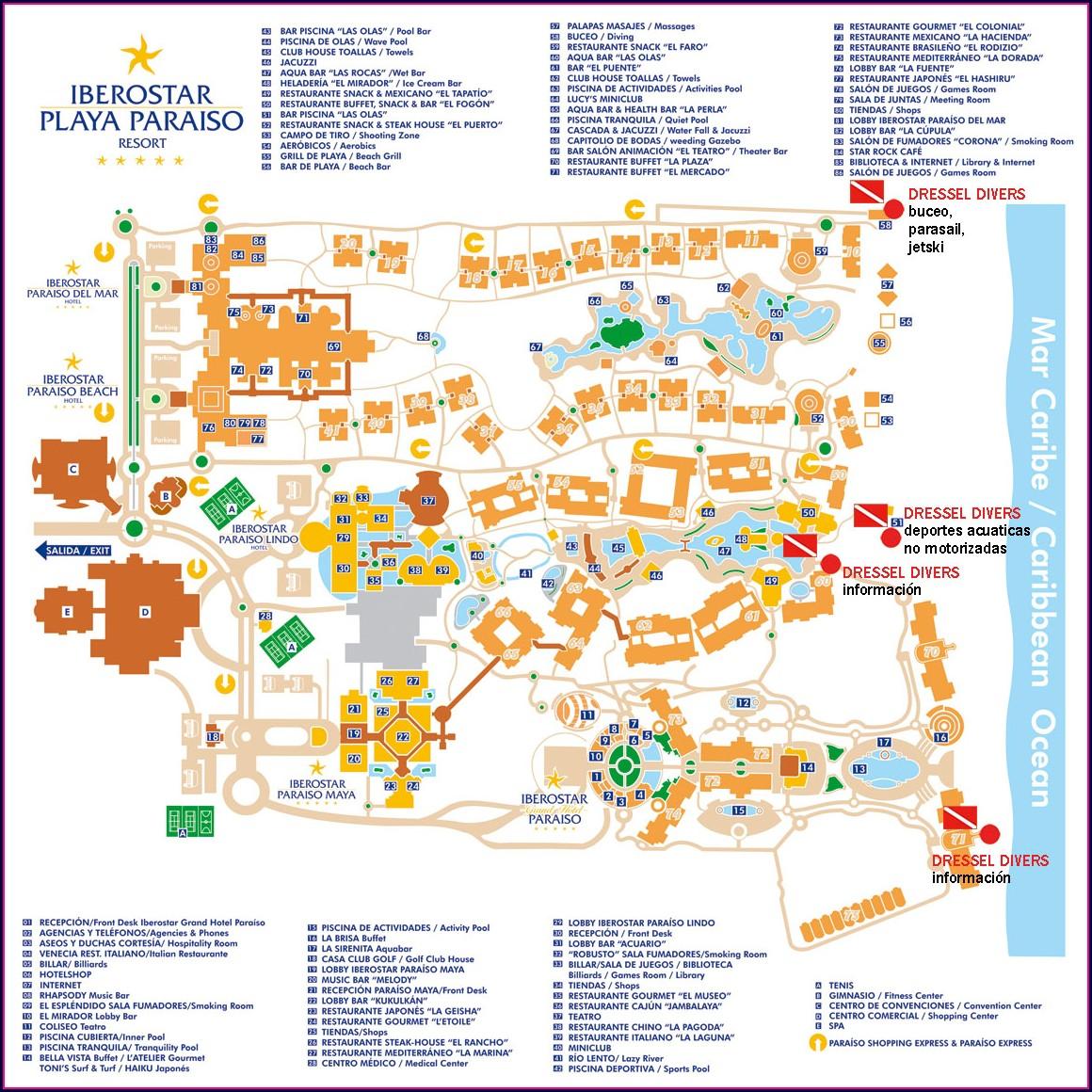 Mapa Hoteles Iberostar Riviera Maya