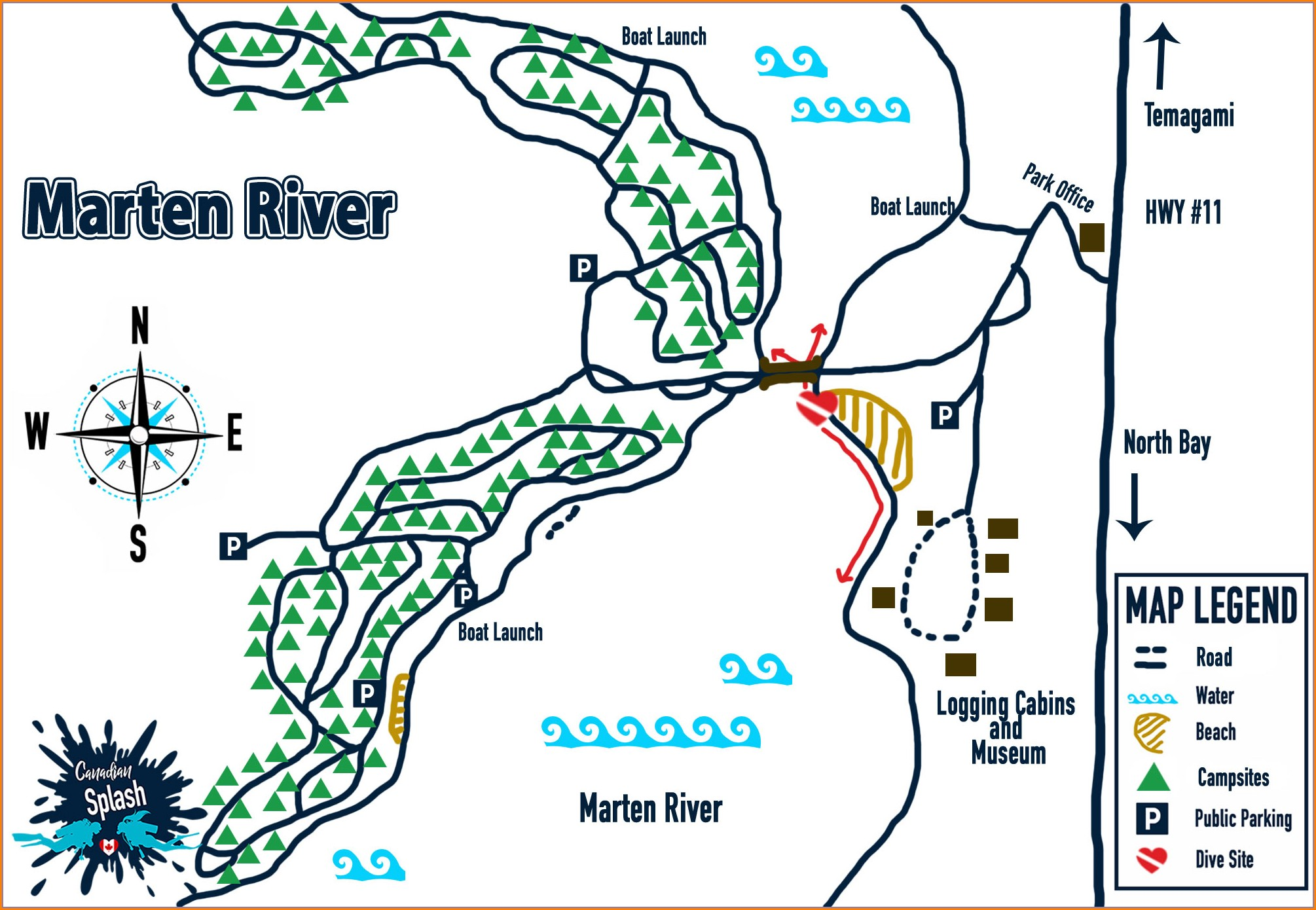 Marten River Fishing Map