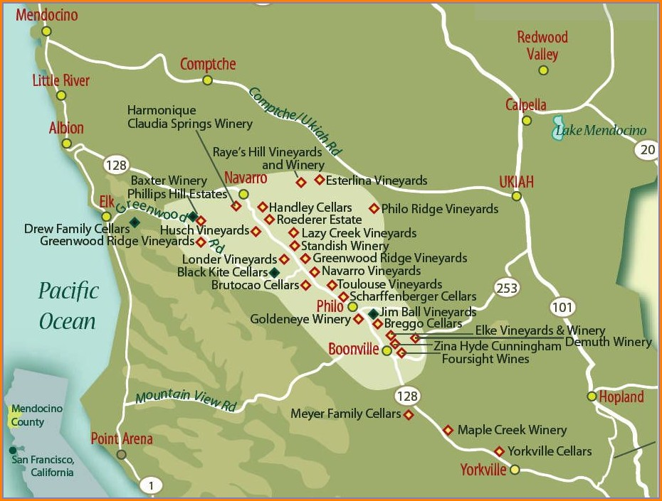 Mendocino County Wine Map