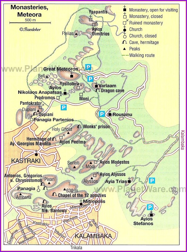 Meteora Greece Map Monasteries