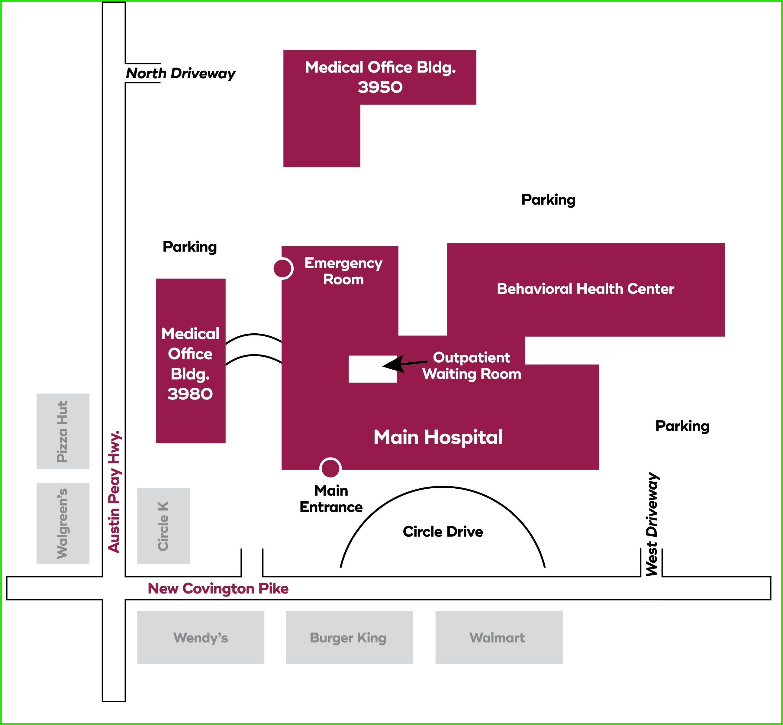 Methodist University Hospital Map