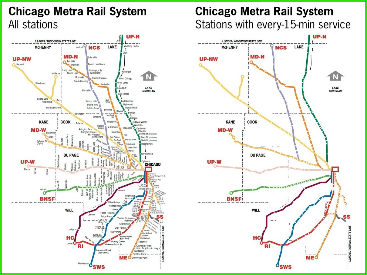 Metra Train Map Chicago Il