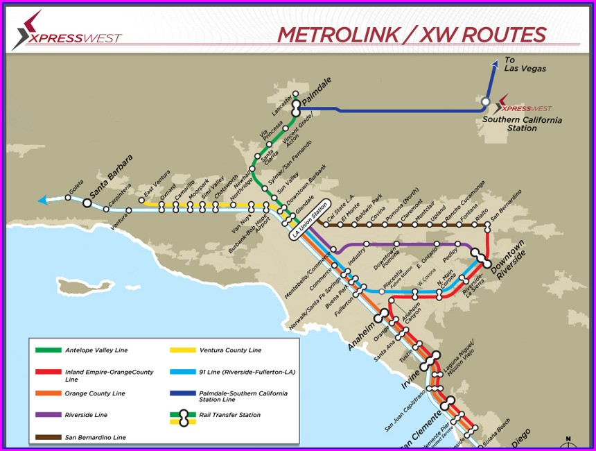 Metrolink Train Map Los Angeles