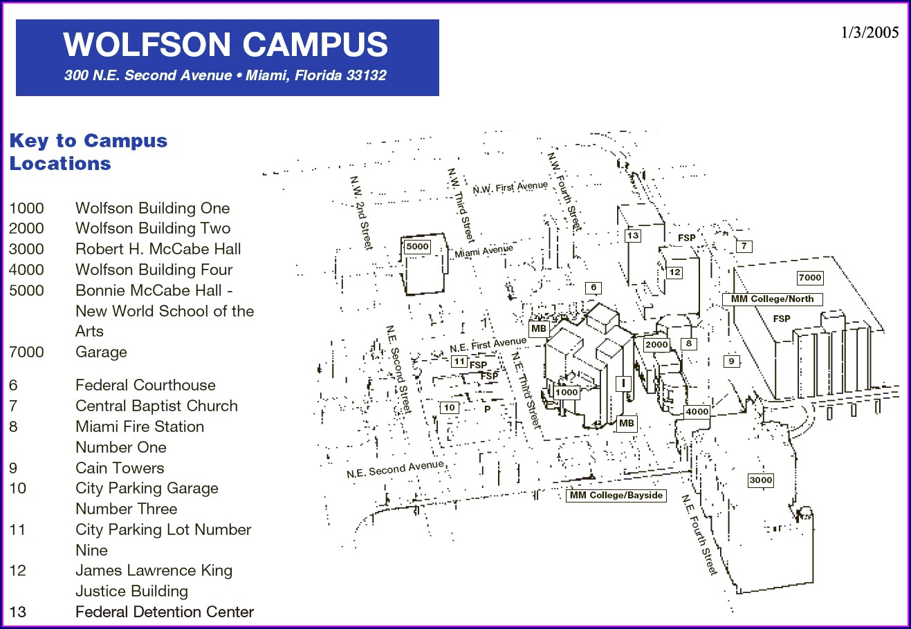 Miami Dade College Wolfson Campus Map