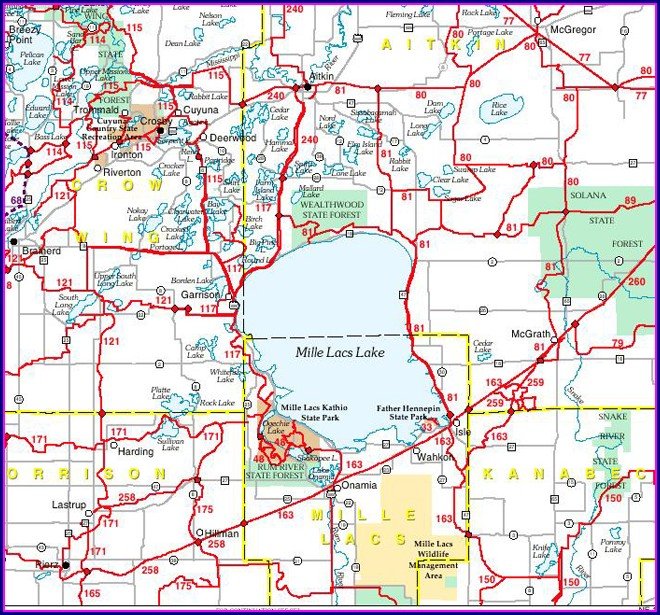Mille Lacs Lake Resorts Map