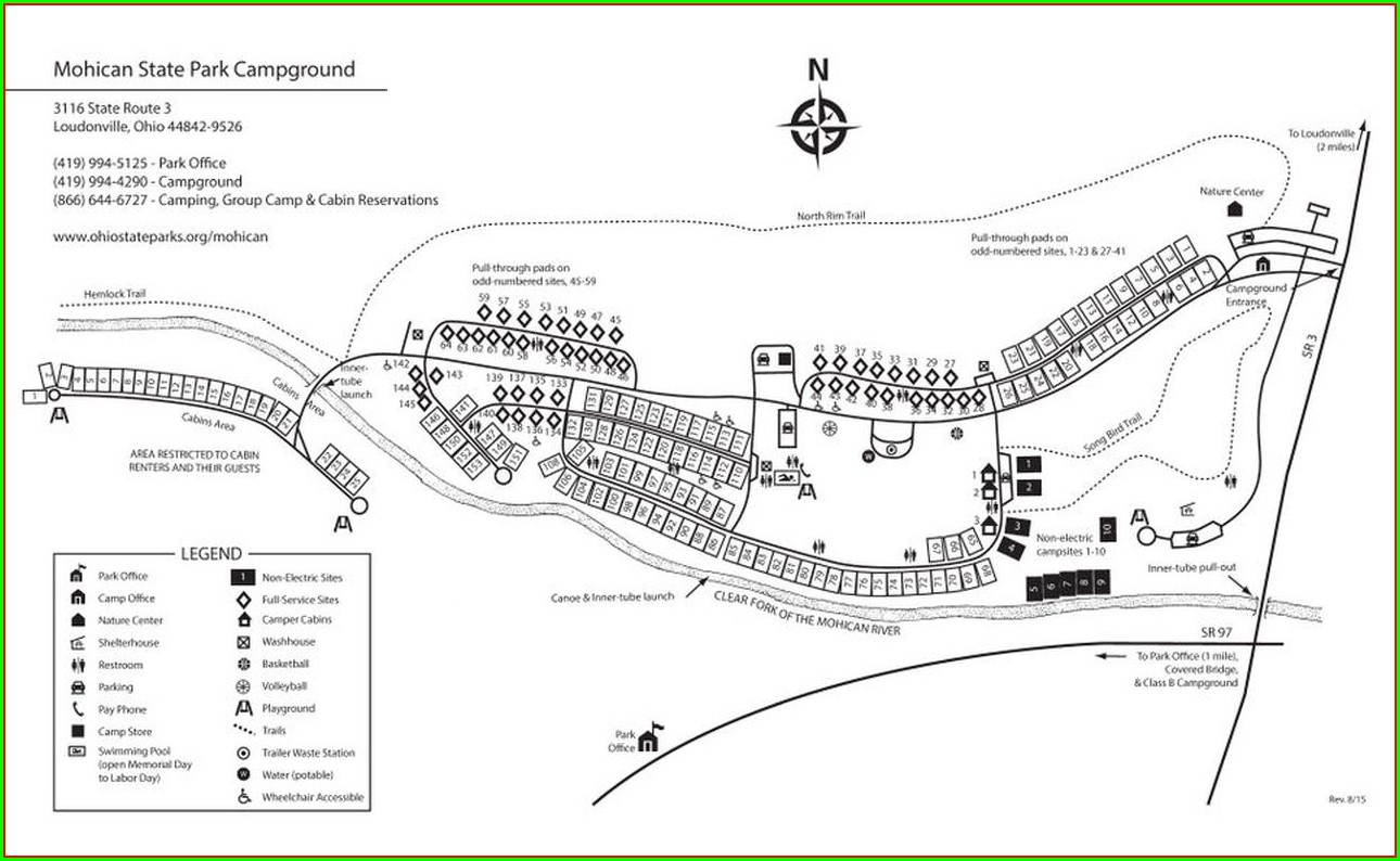 Mohican State Park Camping Site Map