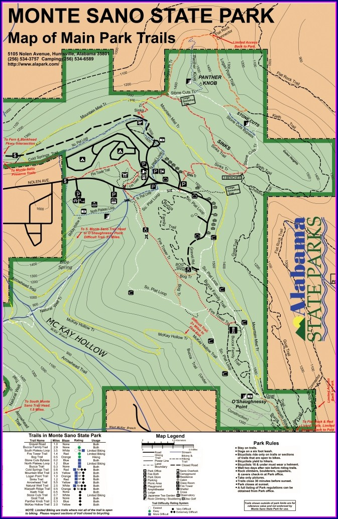 Monte Sano State Park Trail Map Pdf