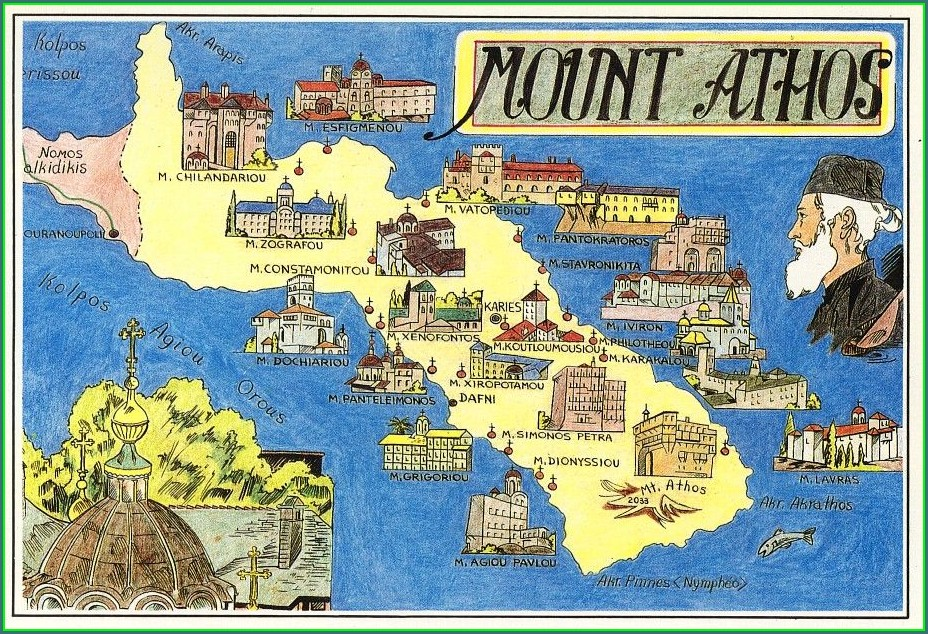 Mount Athos Greece Map