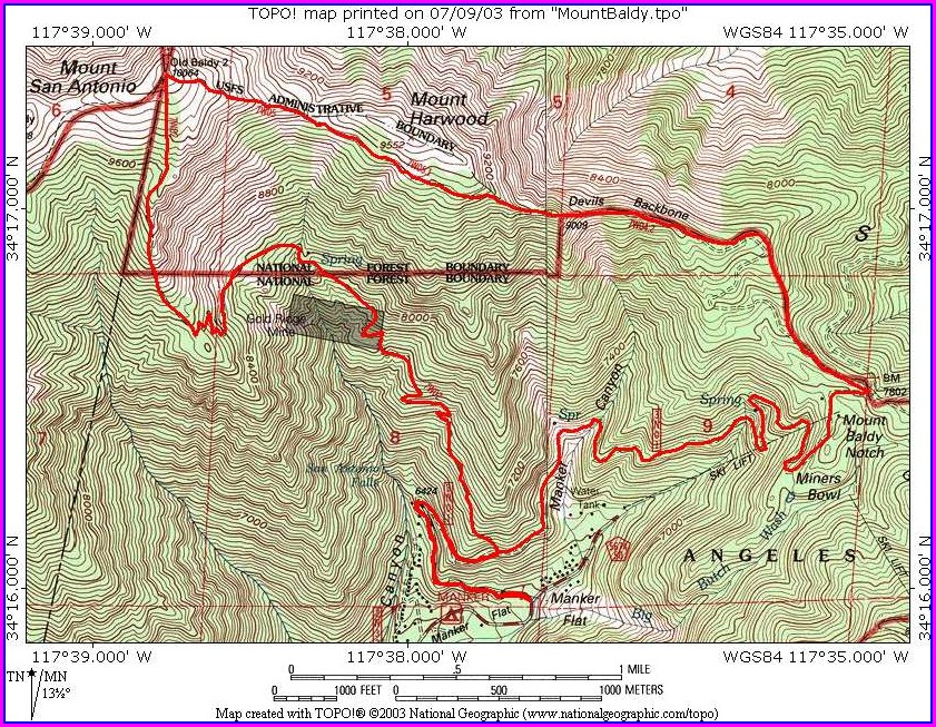 Mt Baldy Hike Map