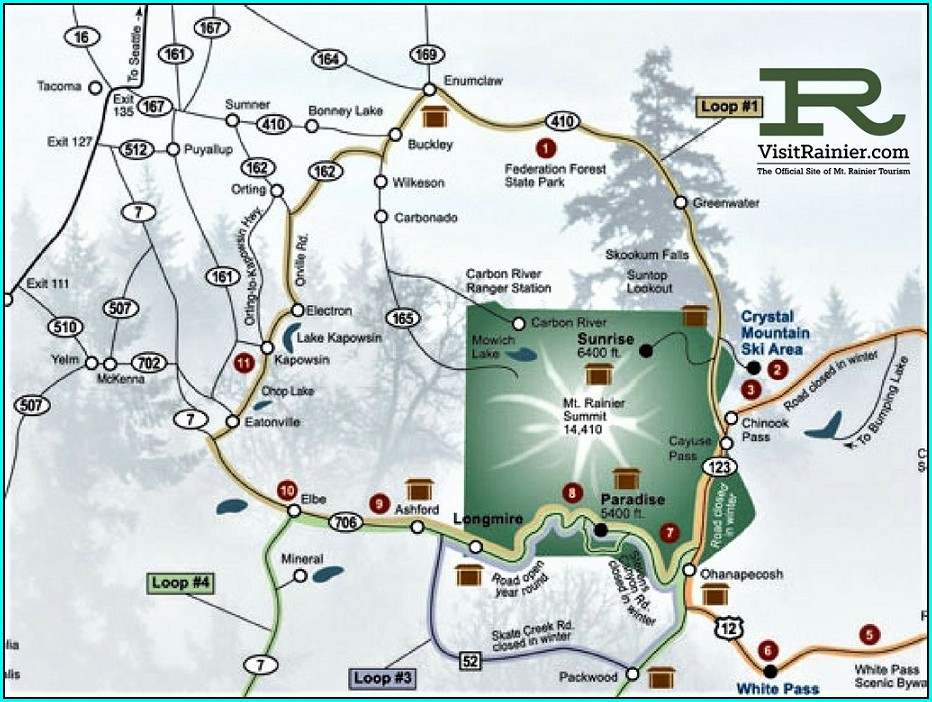 Mt Rainier Accommodations Map