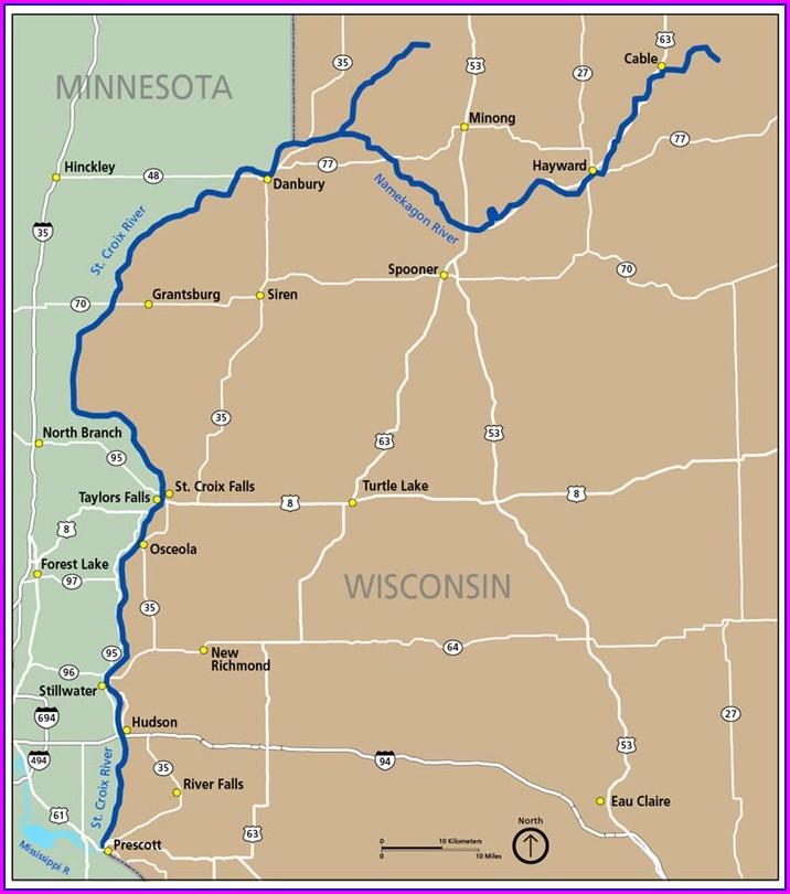 Namekagon River Map Hayward To Trego
