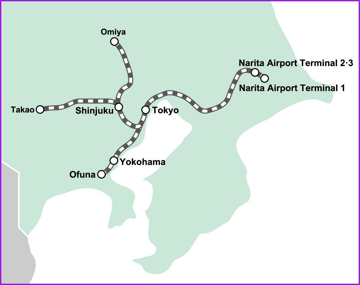 Narita Express Line Map