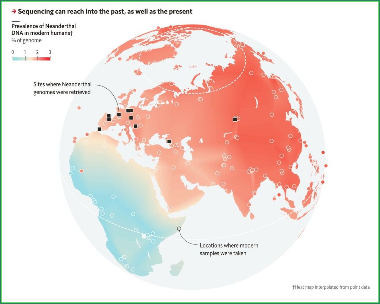 Neanderthal Dna Distribution Map