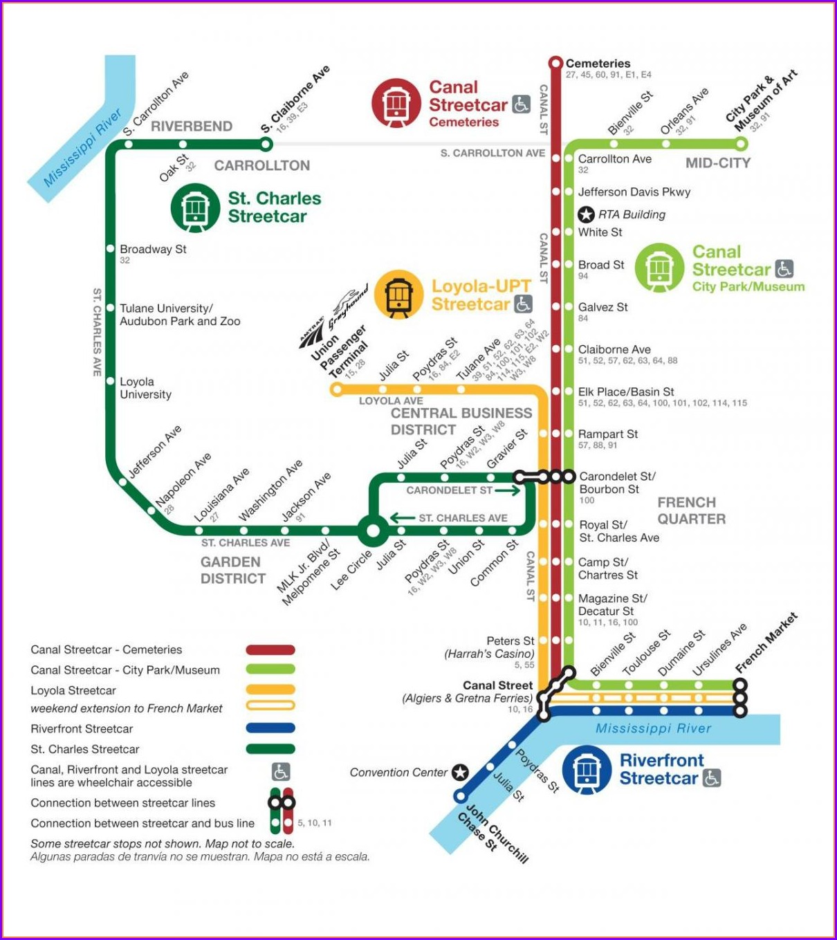 New Orleans Tram Map