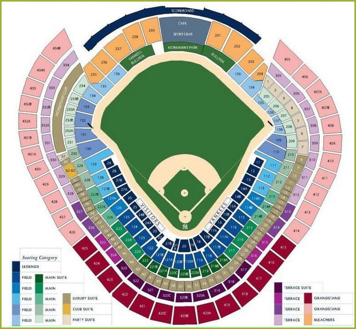New York Yankees Seat Map