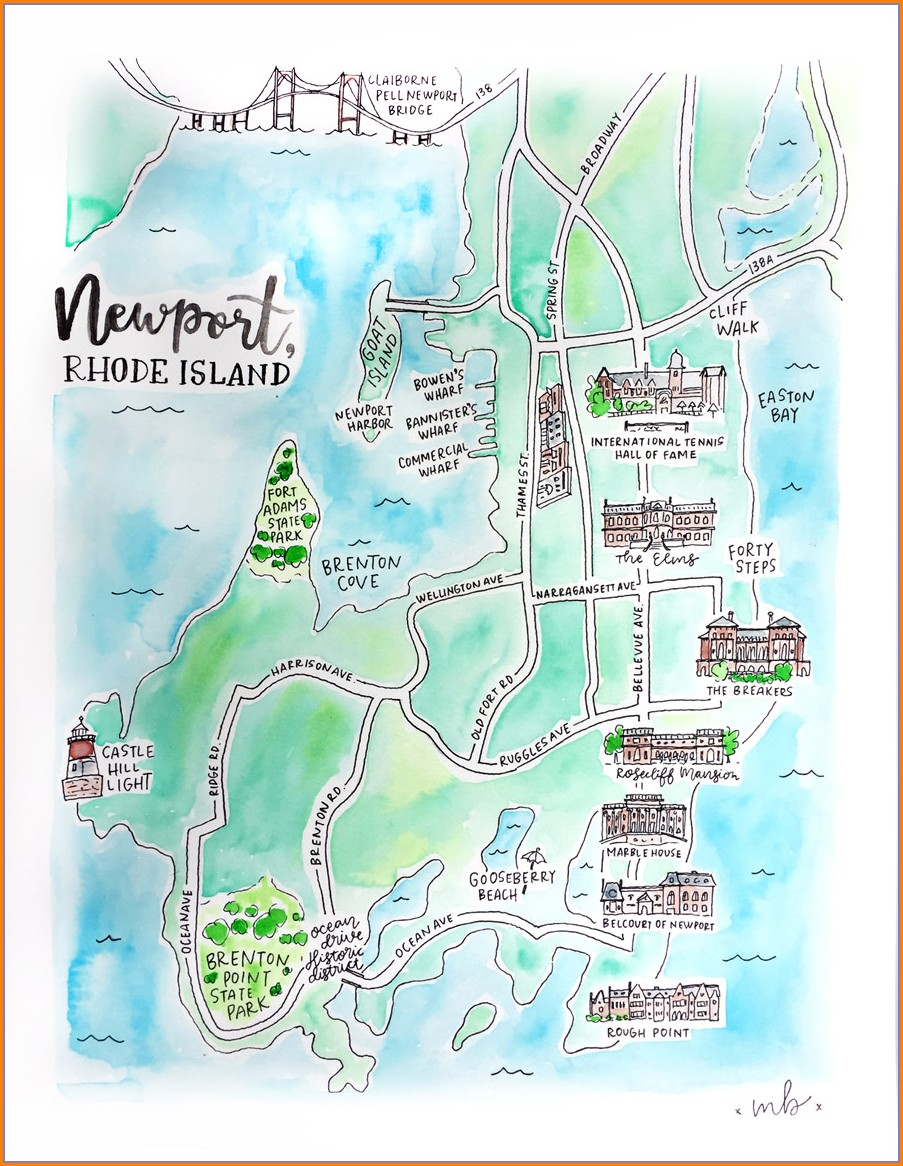 Newport Rhode Island Attractions Map