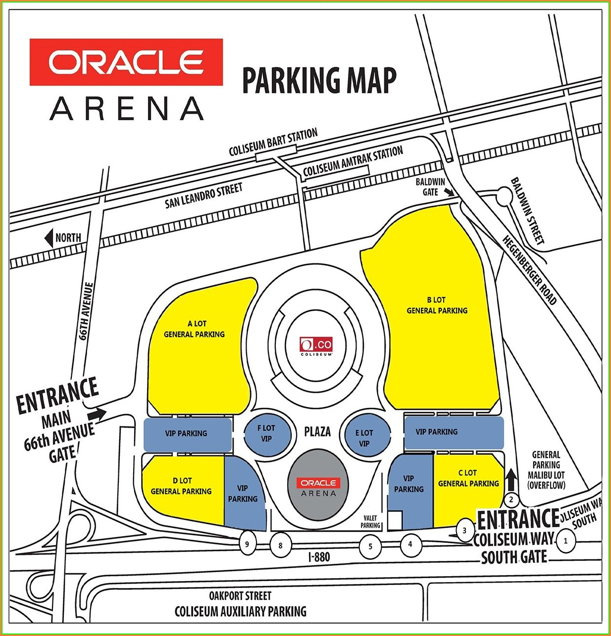 Oakland Coliseum Vip Parking Map