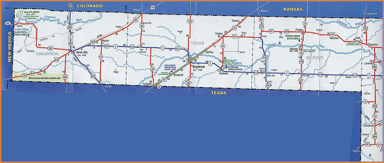 Oklahoma Panhandle Road Map