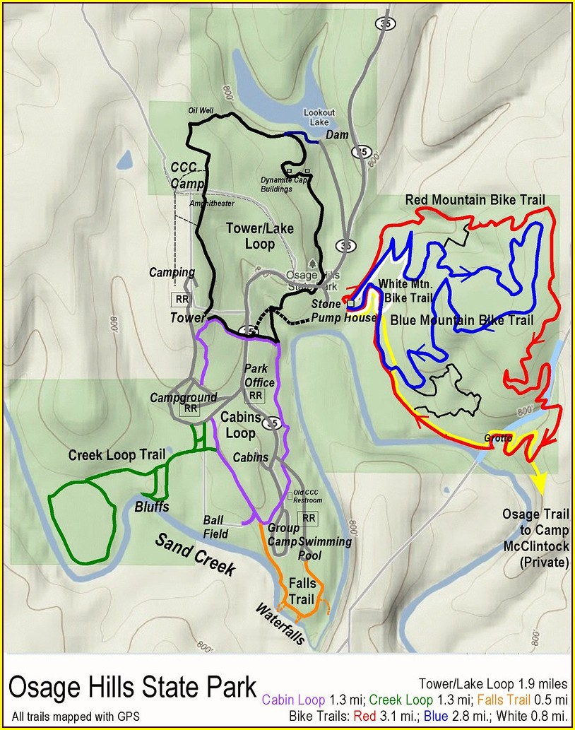 Osage Hills State Park Map