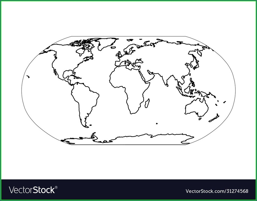 Outline Flat Vector Outline Simple World Map
