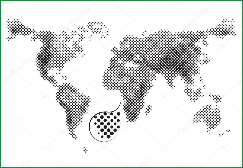 Outline Vector Dotted World Map