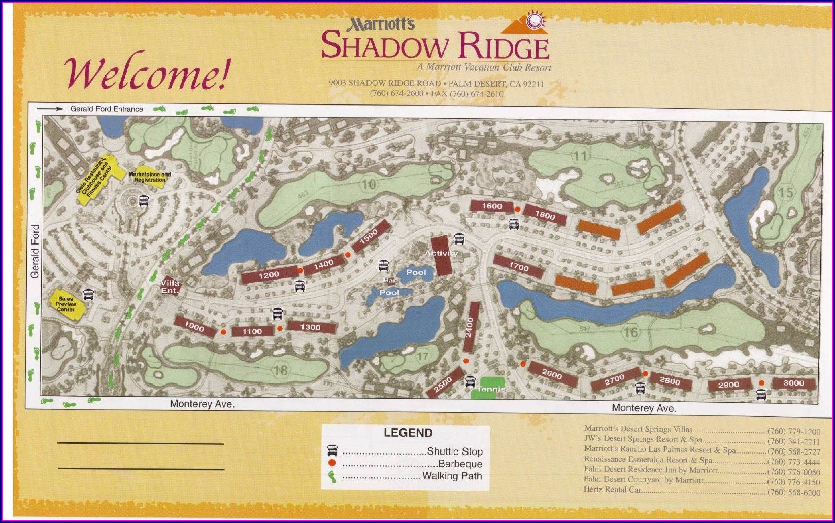 Palm Desert Marriott Shadow Ridge Resort Map