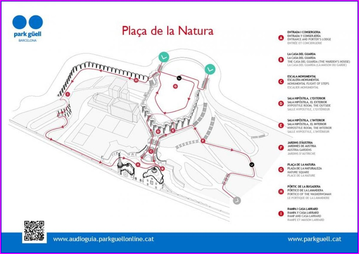 Park Guell Mapa Barcelona