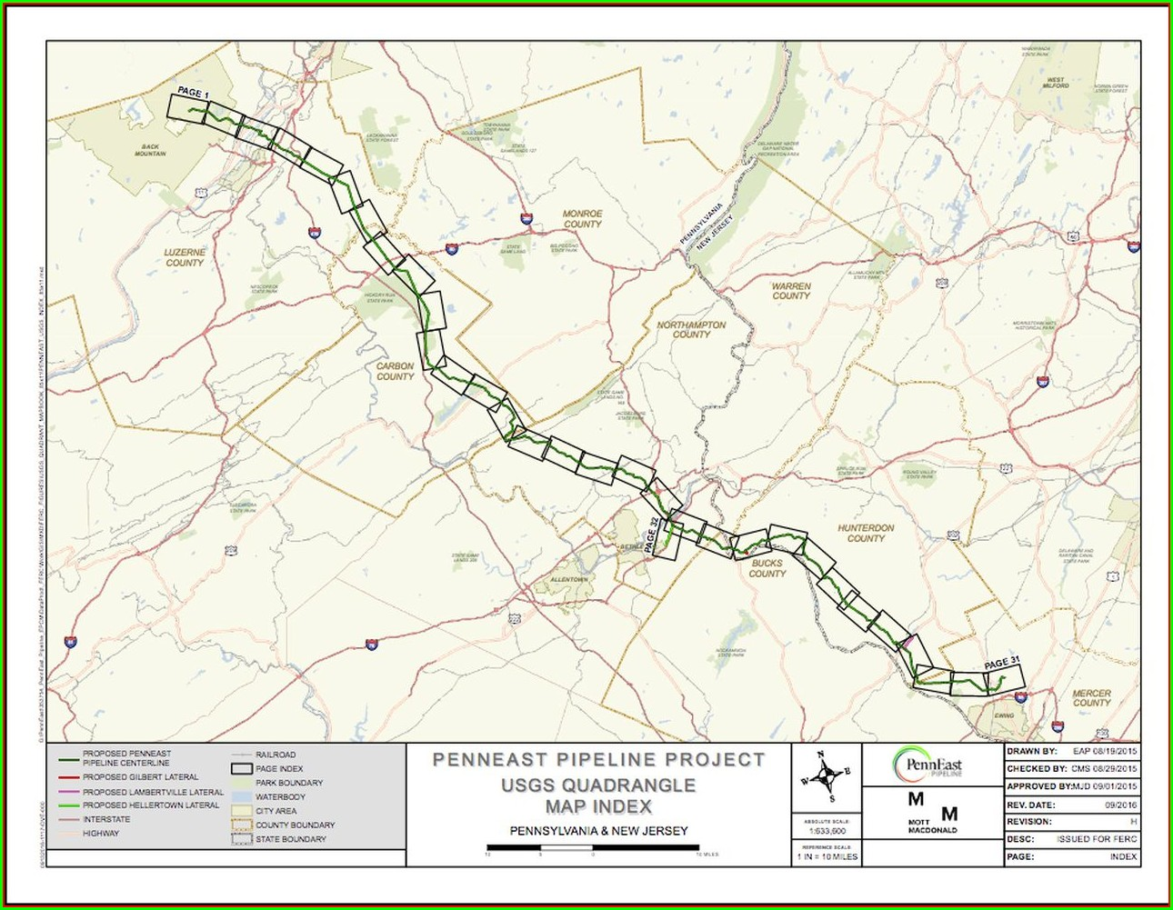 Penneast Pipeline Map Hunterdon County