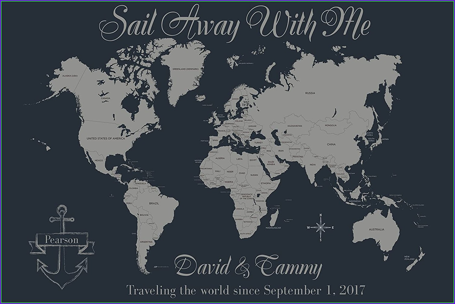 Personalized Push Pin World Travel Map