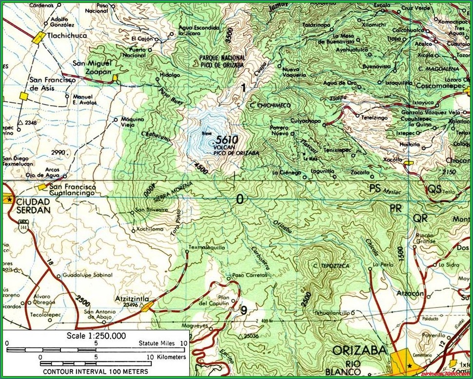 Pico De Orizaba Veracruz Mapa