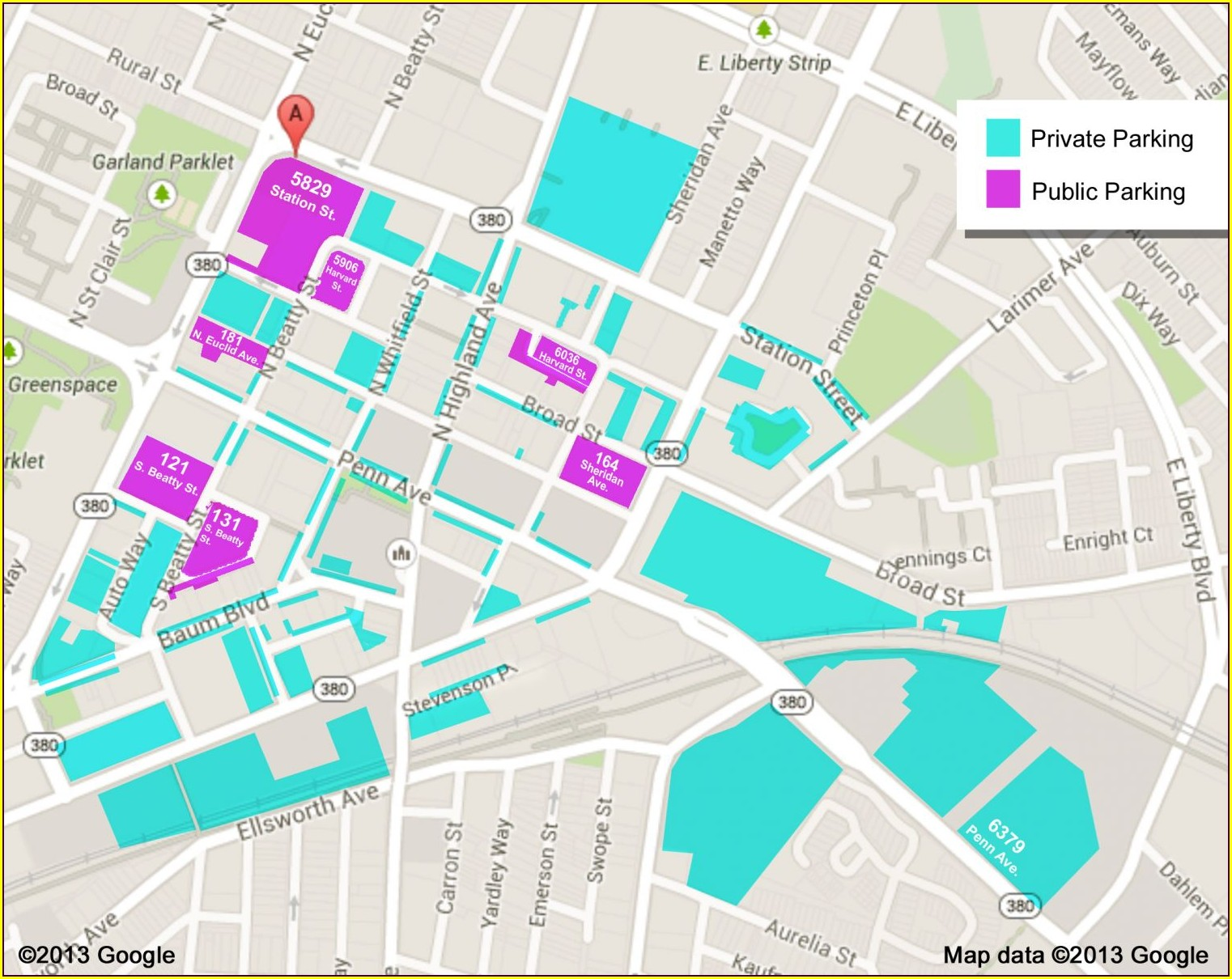 Pittsburgh Parking Garages Map